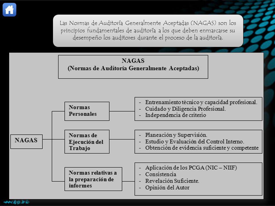 Las Normas de Auditoría Generalmente Aceptadas (NAGAS) son los principios fundamentales de auditoría a los que deben enmarcarse su desempeño los auditores durante el proceso de la auditoría.