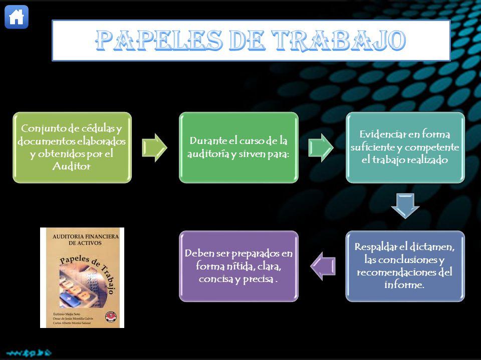 PAPELES DE TRABAJO Conjunto de cédulas y documentos elaborados y obtenidos por el Auditor. Durante el curso de la auditoría y sirven para: