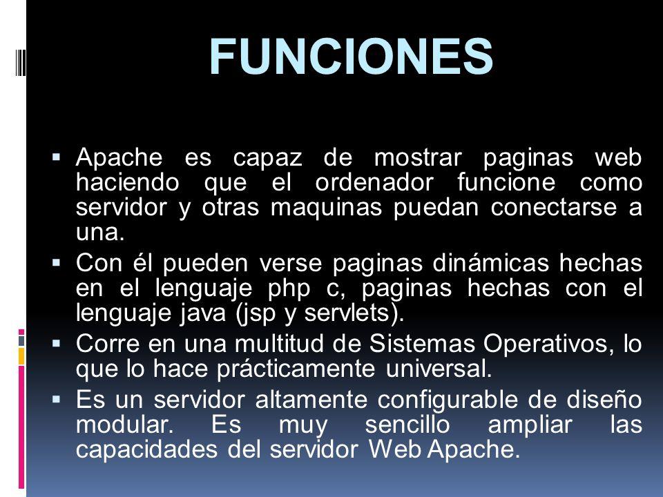 FUNCIONESApache es capaz de mostrar paginas web haciendo que el ordenador funcione como servidor y otras maquinas puedan conectarse a una.