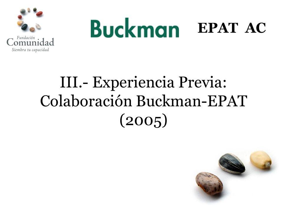 III.- Experiencia Previa: Colaboración Buckman-EPAT (2005)