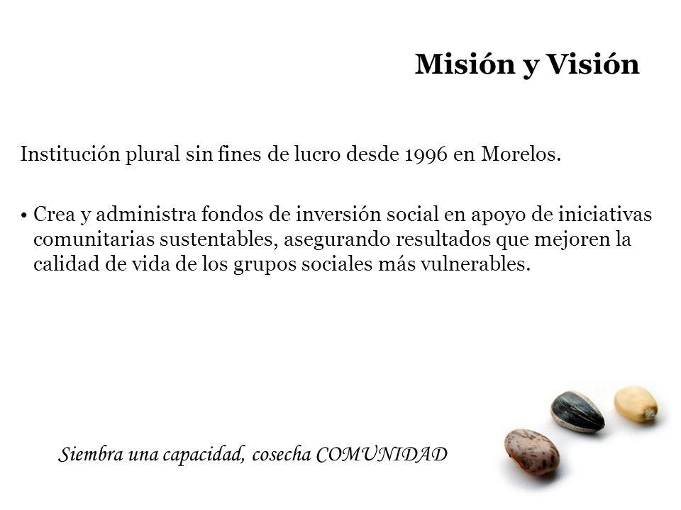 Misión y Visión Siembra una capacidad, cosecha COMUNIDAD