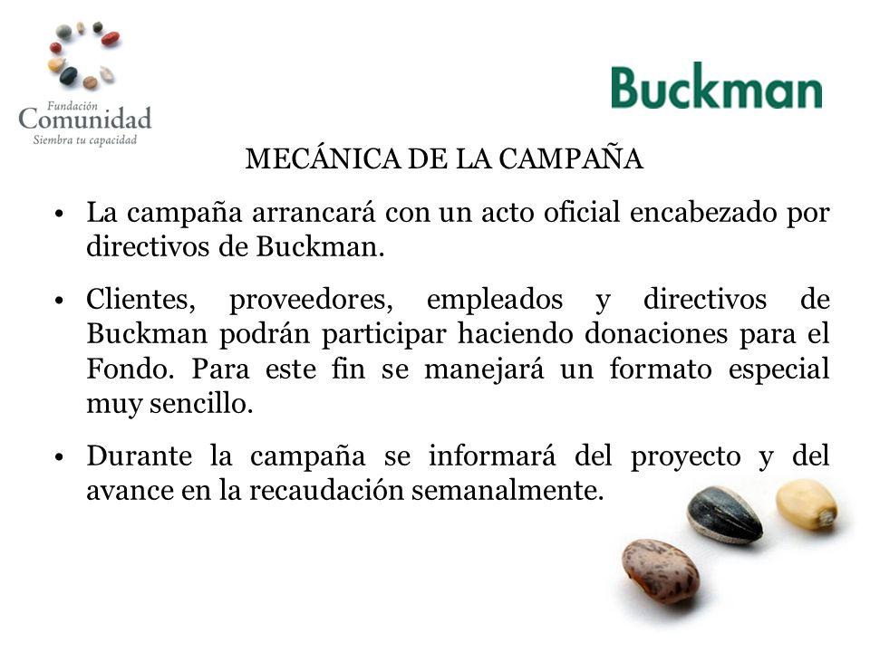 MECÁNICA DE LA CAMPAÑA La campaña arrancará con un acto oficial encabezado por directivos de Buckman.