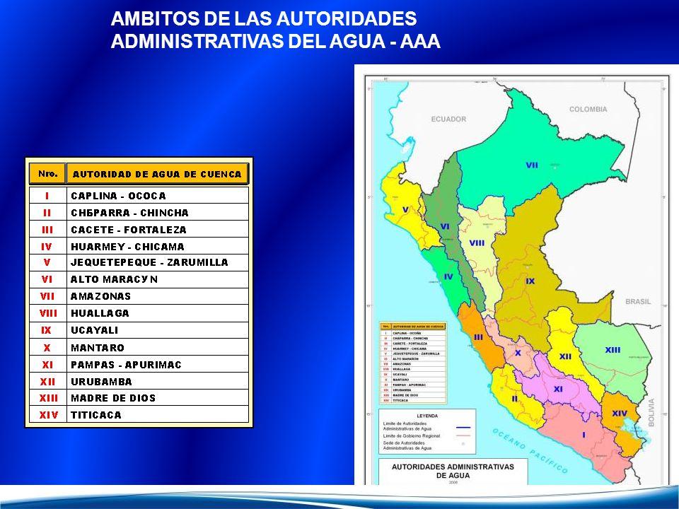 AMBITOS DE LAS AUTORIDADES ADMINISTRATIVAS DEL AGUA - AAA