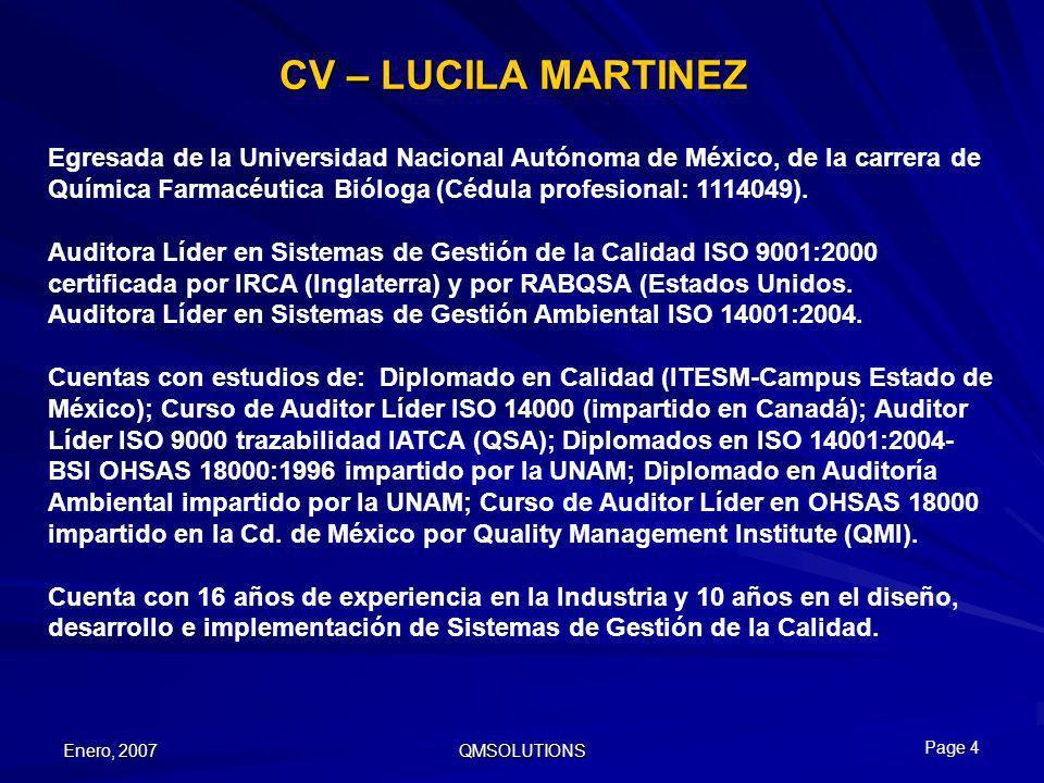 CV – LUCILA MARTINEZ Egresada de la Universidad Nacional Autónoma de México, de la carrera de.