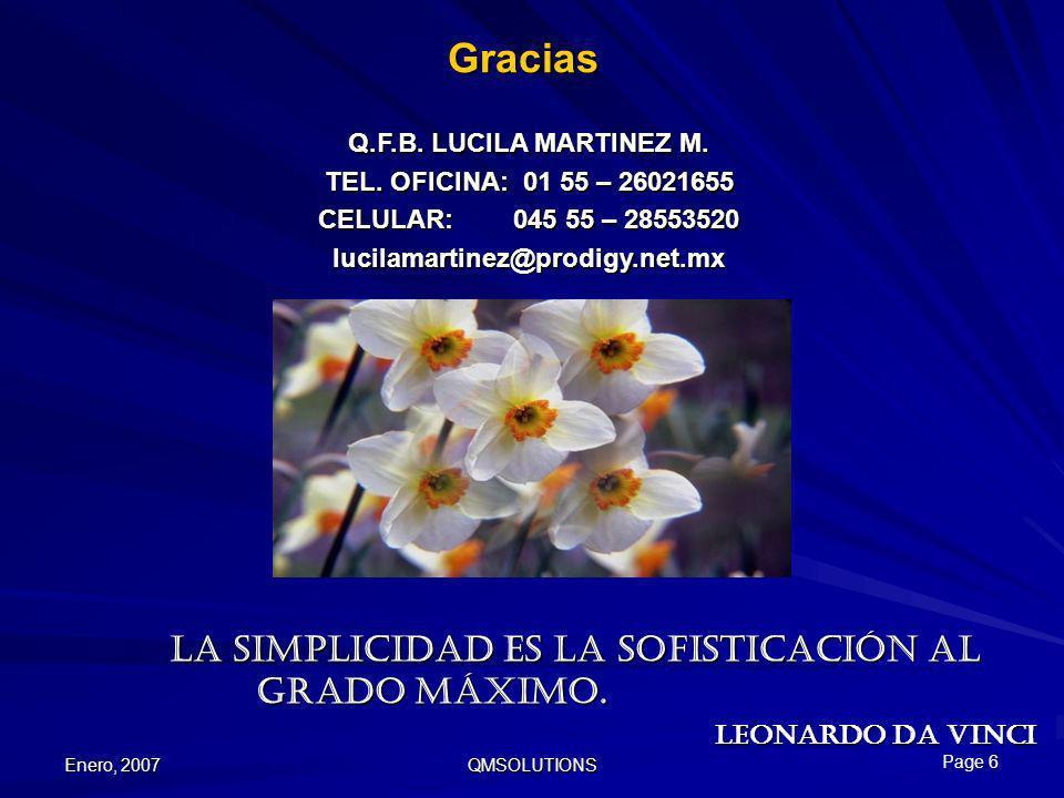 Gracias Q.F.B. LUCILA MARTINEZ M. TEL. OFICINA: 01 55 – 26021655