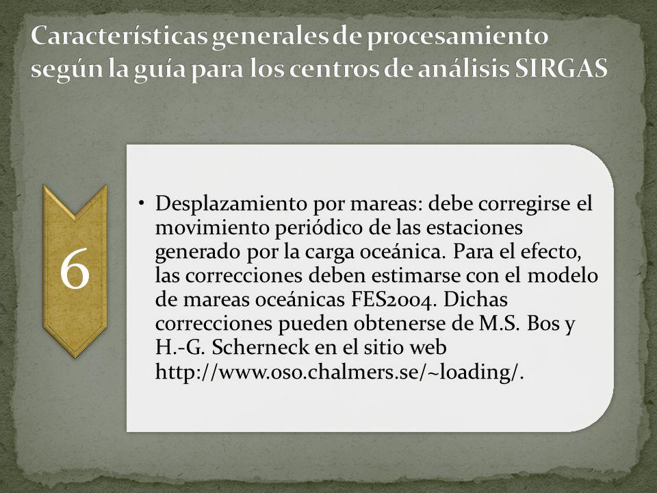 Características generales de procesamiento según la guía para los centros de análisis SIRGAS