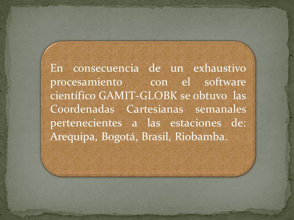 En consecuencia de un exhaustivo procesamiento con el software científico GAMIT-GLOBK se obtuvo las Coordenadas Cartesianas semanales pertenecientes a las estaciones de: Arequipa, Bogotá, Brasil, Riobamba.