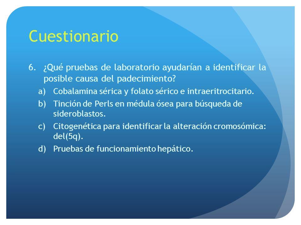 Cuestionario ¿Qué pruebas de laboratorio ayudarían a identificar la posible causa del padecimiento