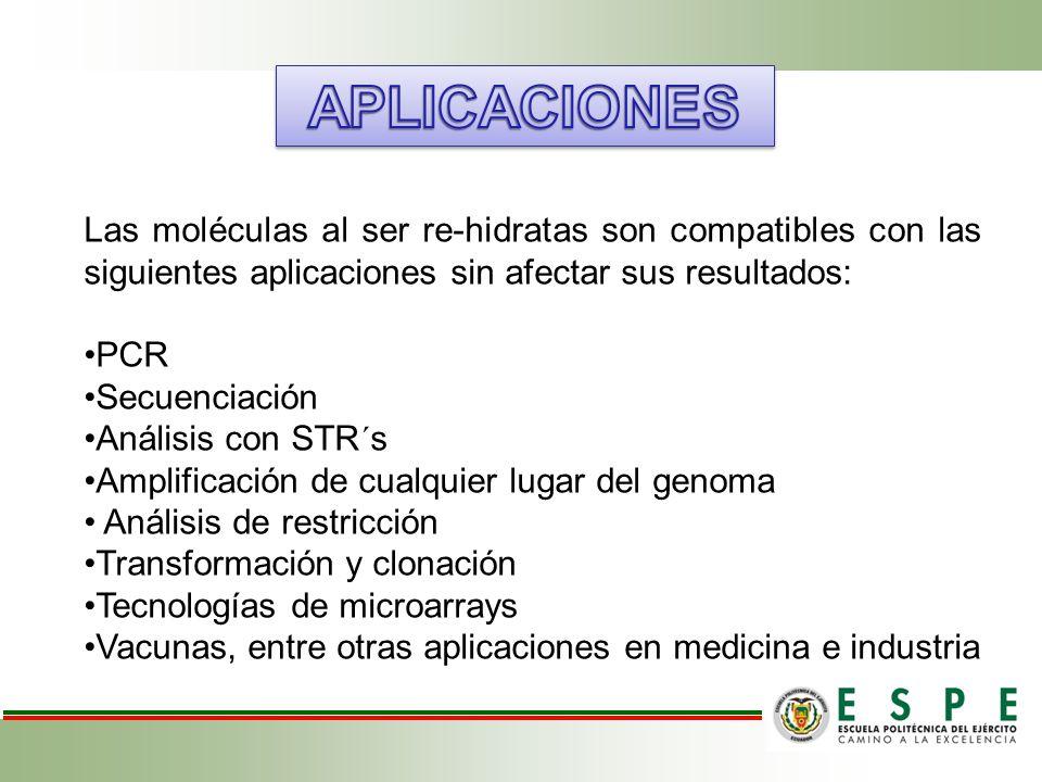 APLICACIONES Las moléculas al ser re-hidratas son compatibles con las siguientes aplicaciones sin afectar sus resultados: