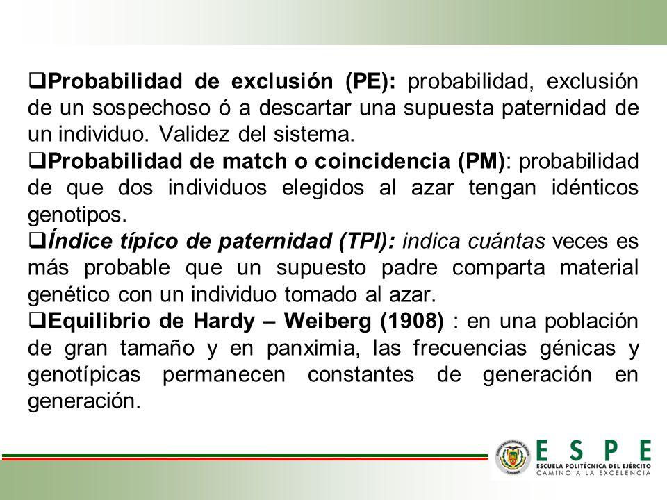 Probabilidad de exclusión (PE): probabilidad, exclusión de un sospechoso ó a descartar una supuesta paternidad de un individuo. Validez del sistema.