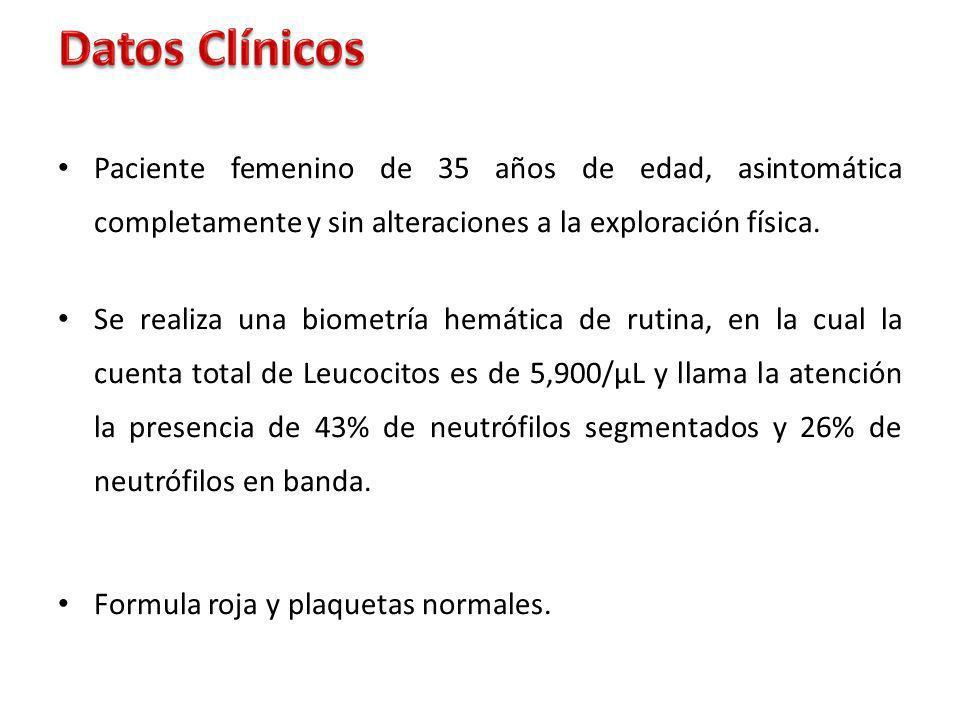 Datos Clínicos Paciente femenino de 35 años de edad, asintomática completamente y sin alteraciones a la exploración física.