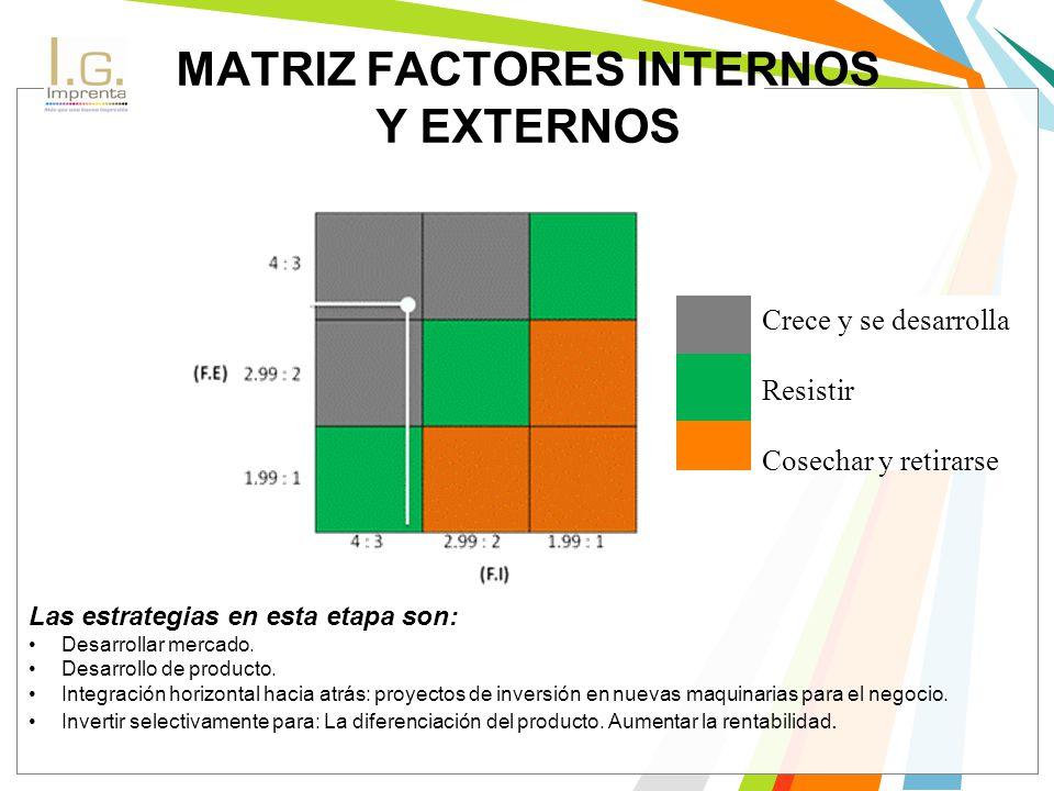 MATRIZ FACTORES INTERNOS Y EXTERNOS
