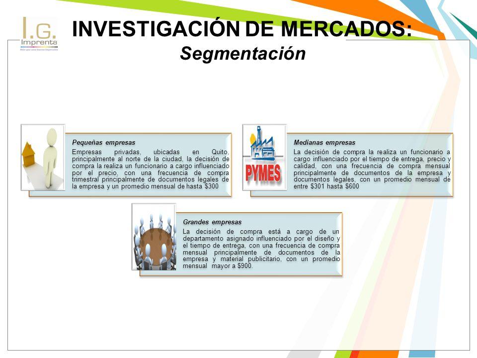 INVESTIGACIÓN DE MERCADOS: Segmentación