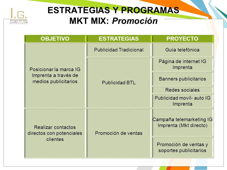 ESTRATEGIAS Y PROGRAMAS MKT MIX: Promoción