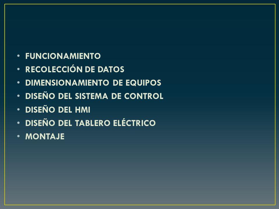 FUNCIONAMIENTO RECOLECCIÓN DE DATOS. DIMENSIONAMIENTO DE EQUIPOS. DISEÑO DEL SISTEMA DE CONTROL. DISEÑO DEL HMI.