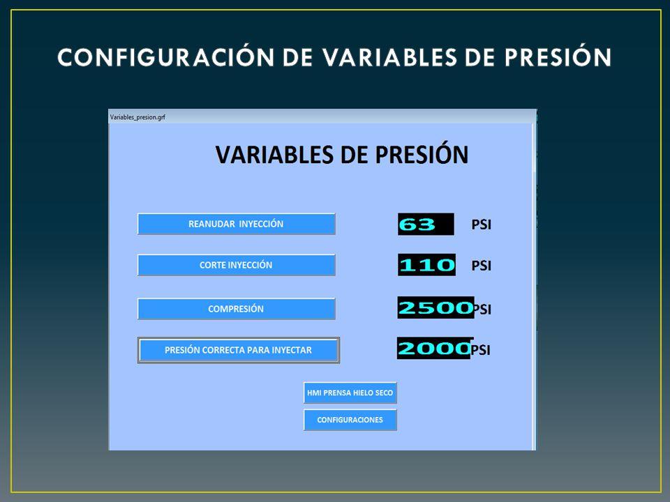 CONFIGURACIÓN DE VARIABLES DE PRESIÓN