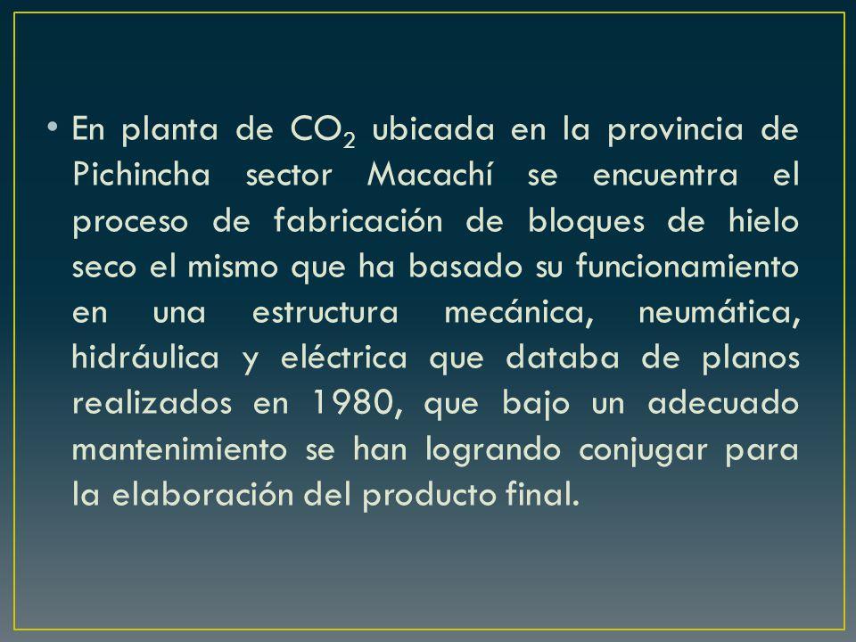 En planta de CO2 ubicada en la provincia de Pichincha sector Macachí se encuentra el proceso de fabricación de bloques de hielo seco el mismo que ha basado su funcionamiento en una estructura mecánica, neumática, hidráulica y eléctrica que databa de planos realizados en 1980, que bajo un adecuado mantenimiento se han logrando conjugar para la elaboración del producto final.