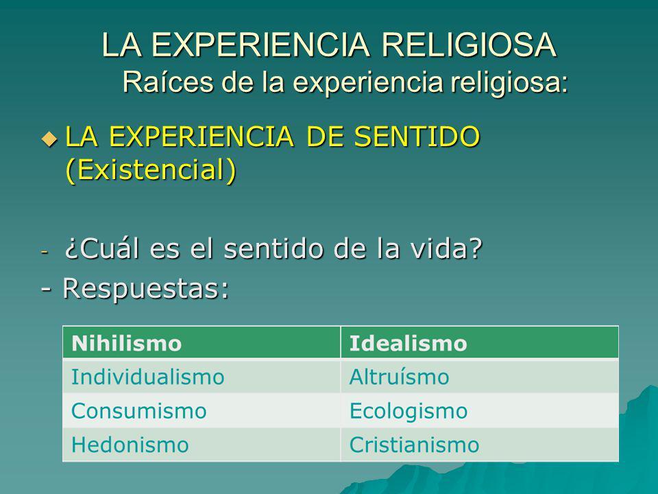LA EXPERIENCIA RELIGIOSA Raíces de la experiencia religiosa: