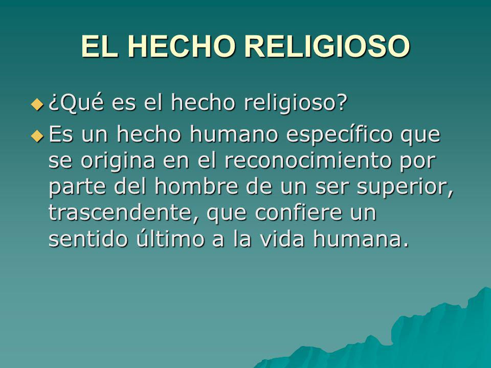 EL HECHO RELIGIOSO ¿Qué es el hecho religioso
