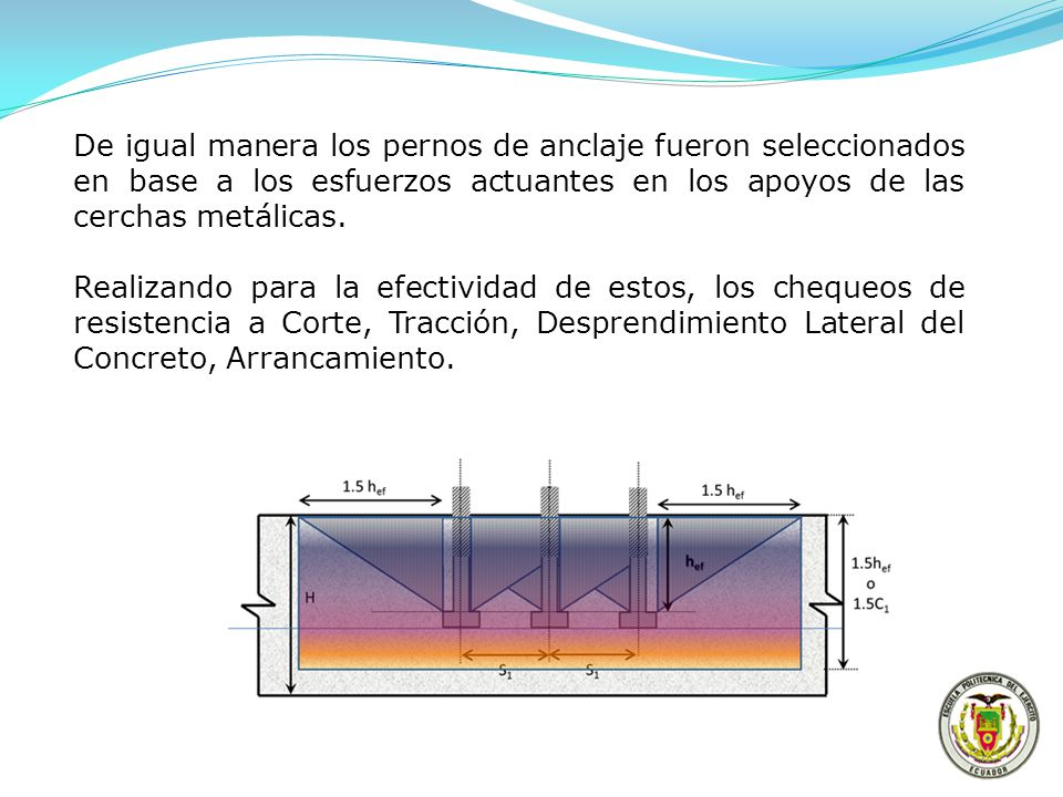 De igual manera los pernos de anclaje fueron seleccionados en base a los esfuerzos actuantes en los apoyos de las cerchas metálicas.