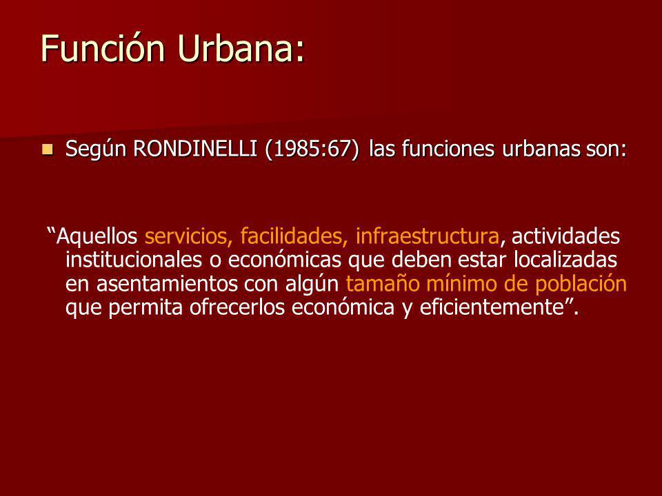 Función Urbana: Según RONDINELLI (1985:67) las funciones urbanas son: