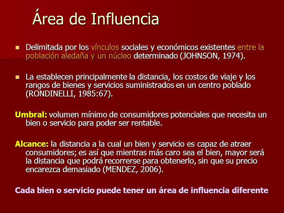 Área de Influencia Delimitada por los vínculos sociales y económicos existentes entre la población aledaña y un núcleo determinado (JOHNSON, 1974).