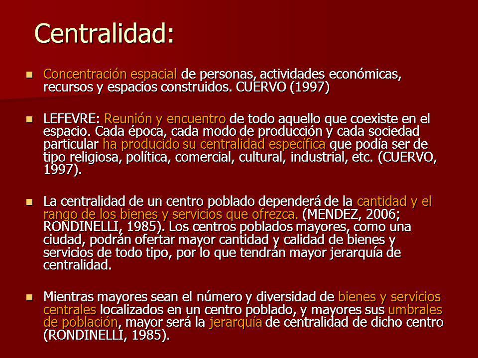 Centralidad: Concentración espacial de personas, actividades económicas, recursos y espacios construidos. CUERVO (1997)