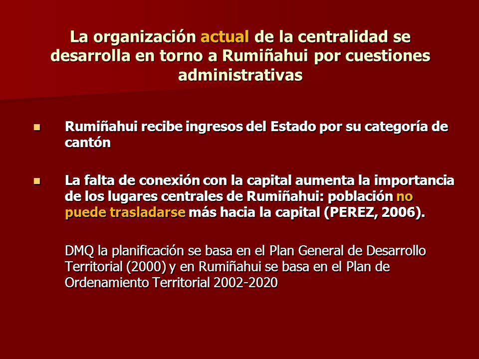 La organización actual de la centralidad se desarrolla en torno a Rumiñahui por cuestiones administrativas