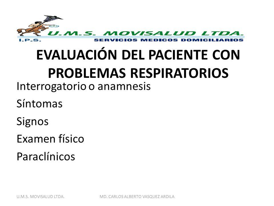EVALUACIÓN DEL PACIENTE CON PROBLEMAS RESPIRATORIOS