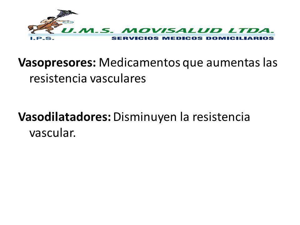 Vasopresores: Medicamentos que aumentas las resistencia vasculares