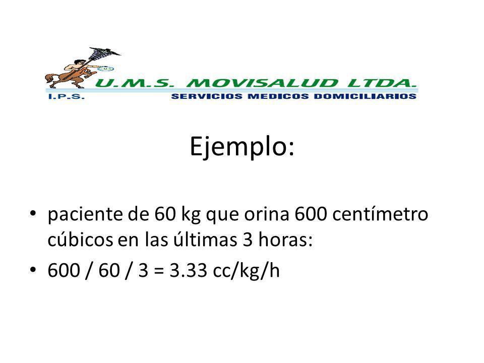 Ejemplo: paciente de 60 kg que orina 600 centímetro cúbicos en las últimas 3 horas: 600 / 60 / 3 = 3.33 cc/kg/h.