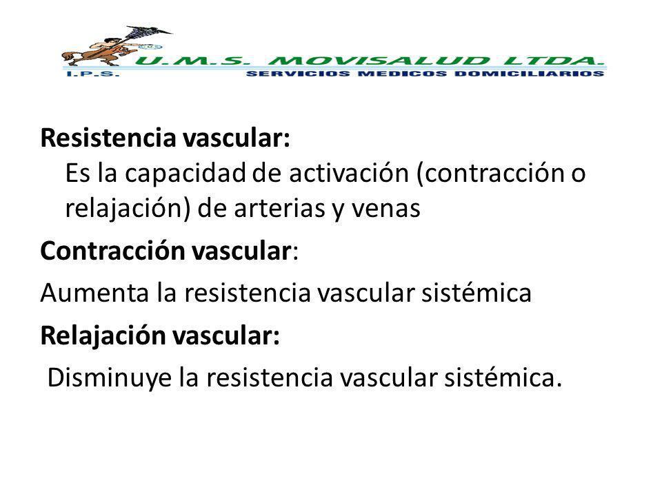 Resistencia vascular: Es la capacidad de activación (contracción o relajación) de arterias y venas Contracción vascular: Aumenta la resistencia vascular sistémica Relajación vascular: Disminuye la resistencia vascular sistémica.
