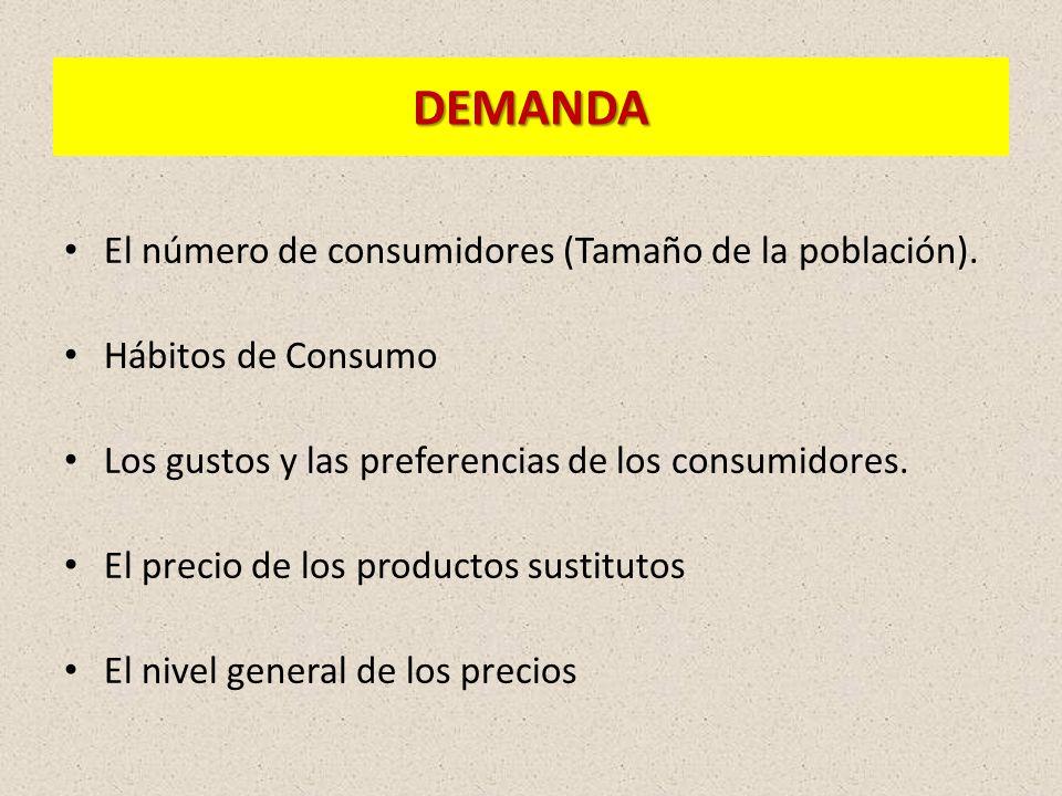 DEMANDA El número de consumidores (Tamaño de la población).