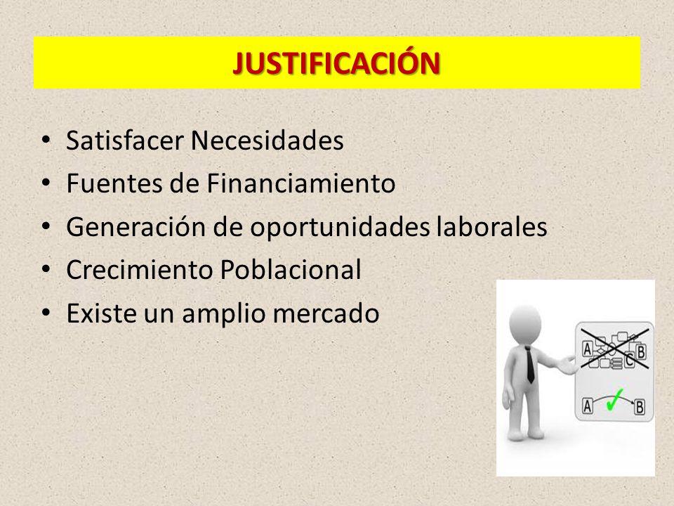 JUSTIFICACIÓN Satisfacer Necesidades Fuentes de Financiamiento