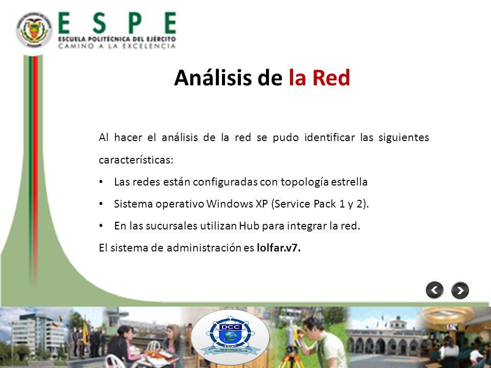 Análisis de la Red Al hacer el análisis de la red se pudo identificar las siguientes características: