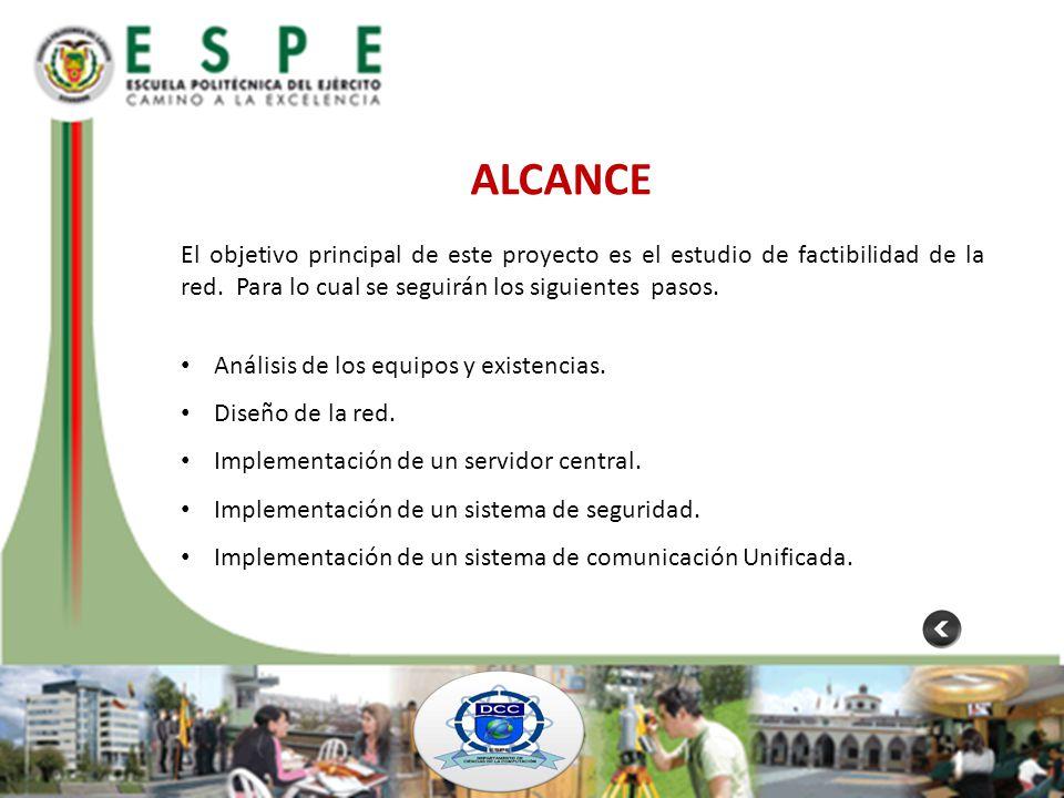 ALCANCE El objetivo principal de este proyecto es el estudio de factibilidad de la red. Para lo cual se seguirán los siguientes pasos.