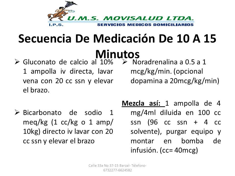 Secuencia De Medicación De 10 A 15 Minutos