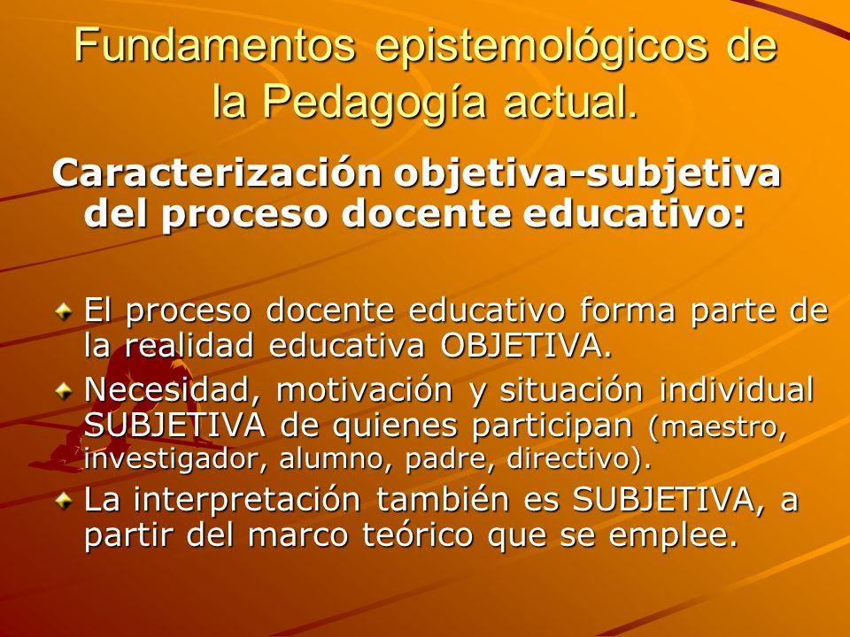 Fundamentos epistemológicos de la Pedagogía actual.