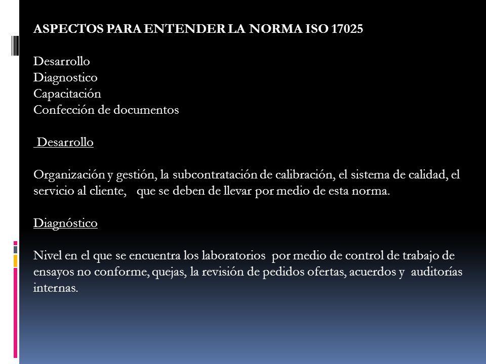 ASPECTOS PARA ENTENDER LA NORMA ISO 17025