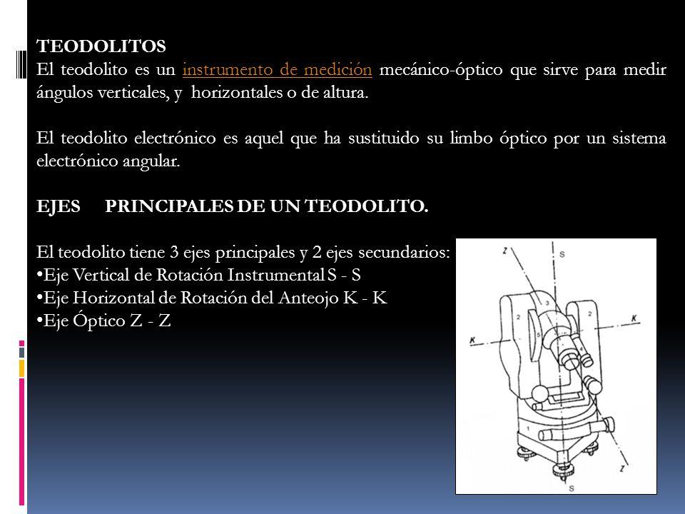 TEODOLITOS El teodolito es un instrumento de medición mecánico-óptico que sirve para medir ángulos verticales, y horizontales o de altura.