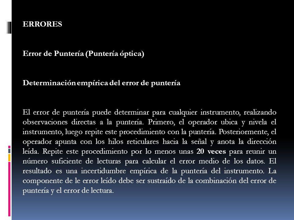 ERRORES Error de Puntería (Puntería óptica) Determinación empírica del error de puntería.