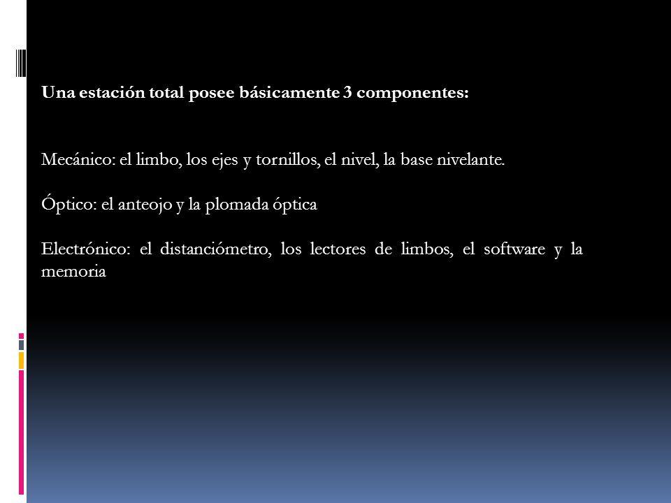 Una estación total posee básicamente 3 componentes:
