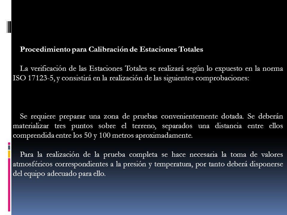 Procedimiento para Calibración de Estaciones Totales