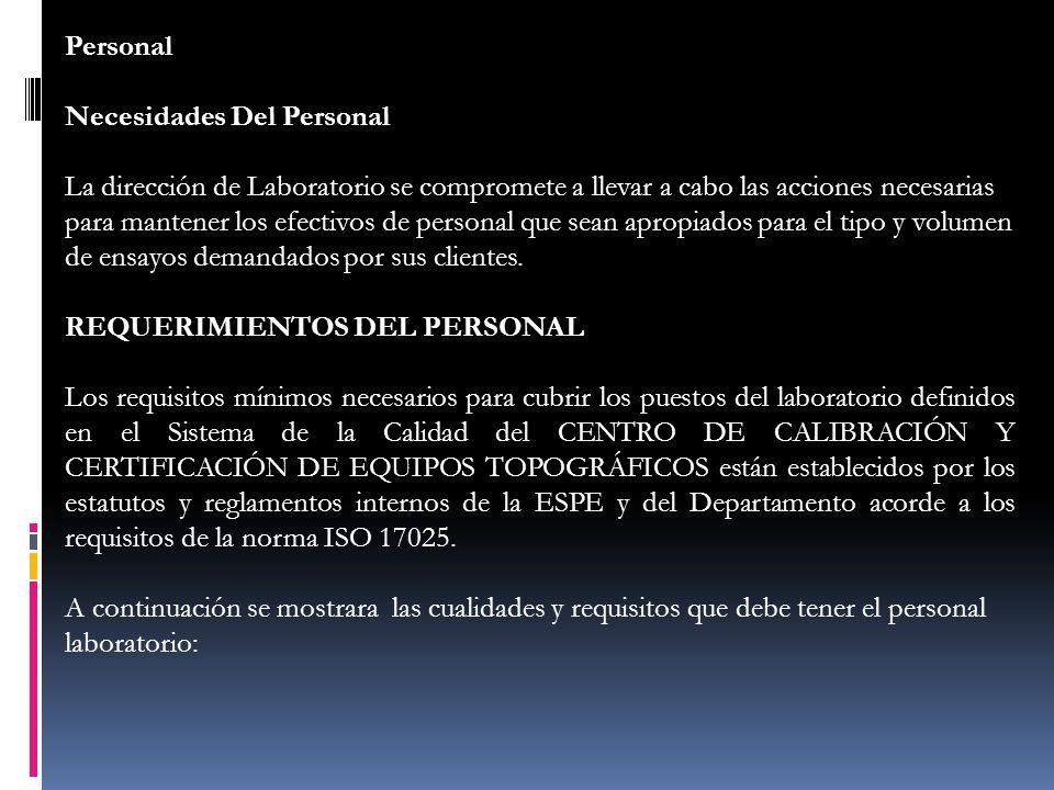 Personal Necesidades Del Personal.