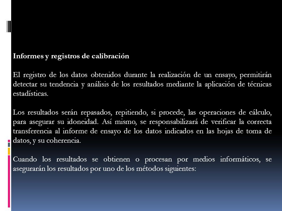 Informes y registros de calibración