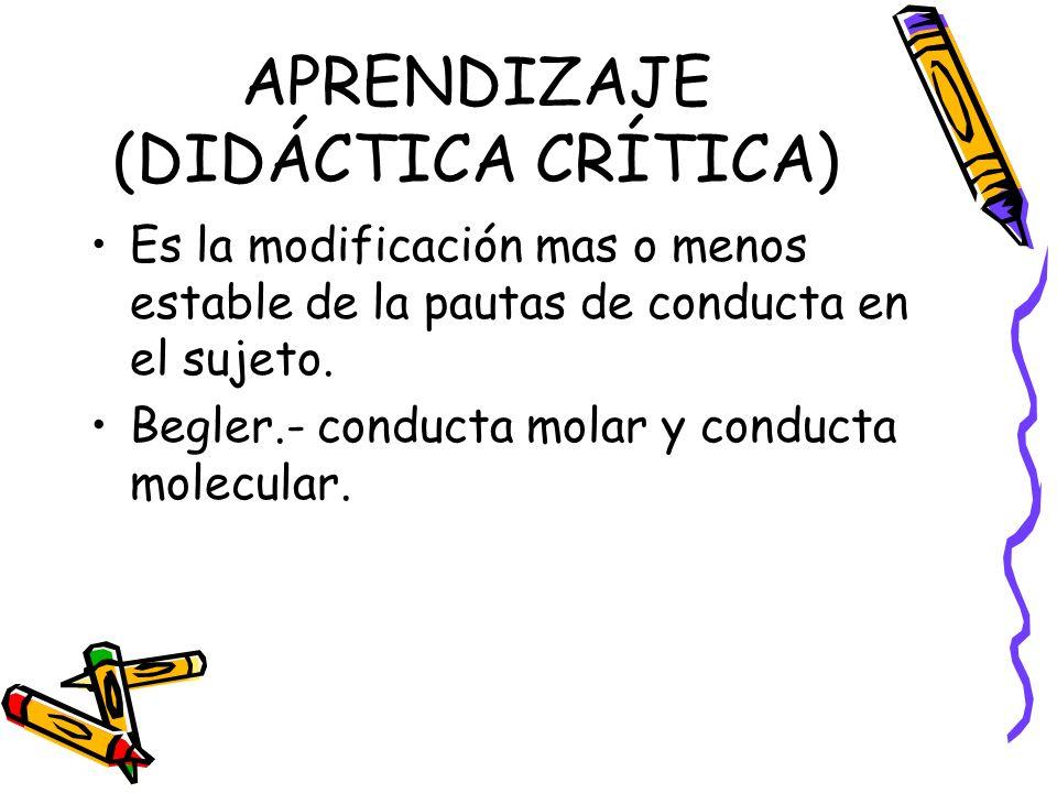 APRENDIZAJE (DIDÁCTICA CRÍTICA)