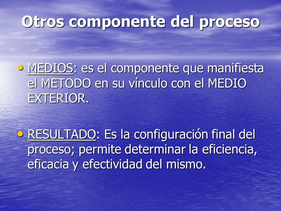 Otros componente del proceso