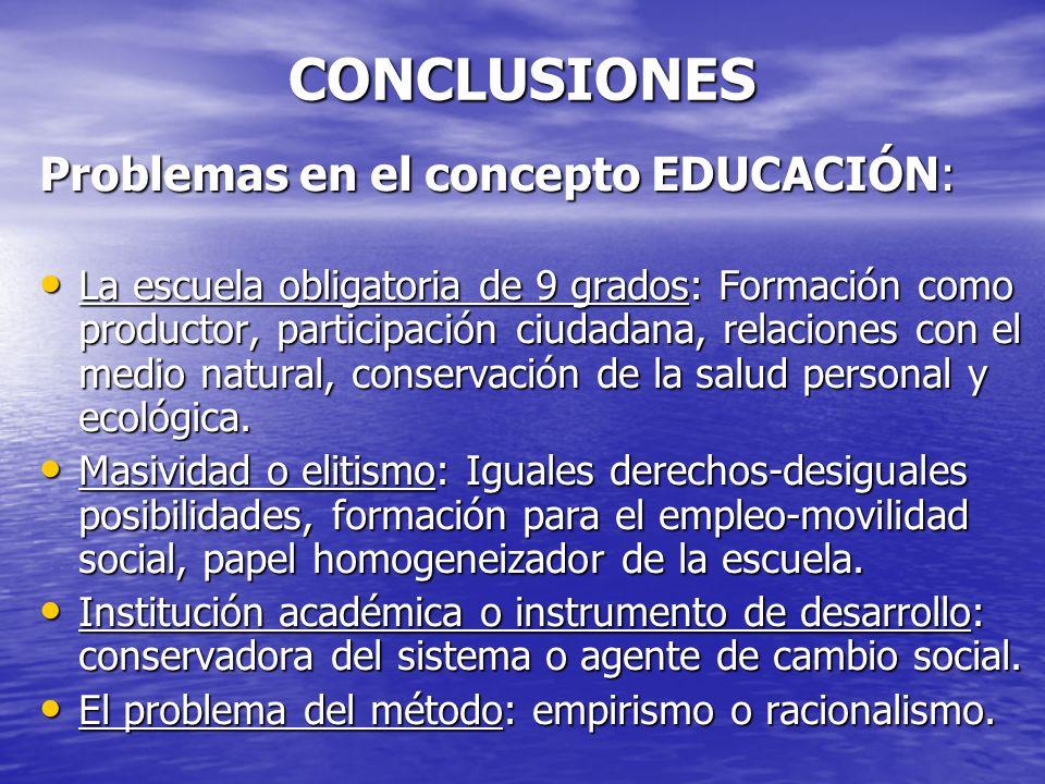 CONCLUSIONES Problemas en el concepto EDUCACIÓN: