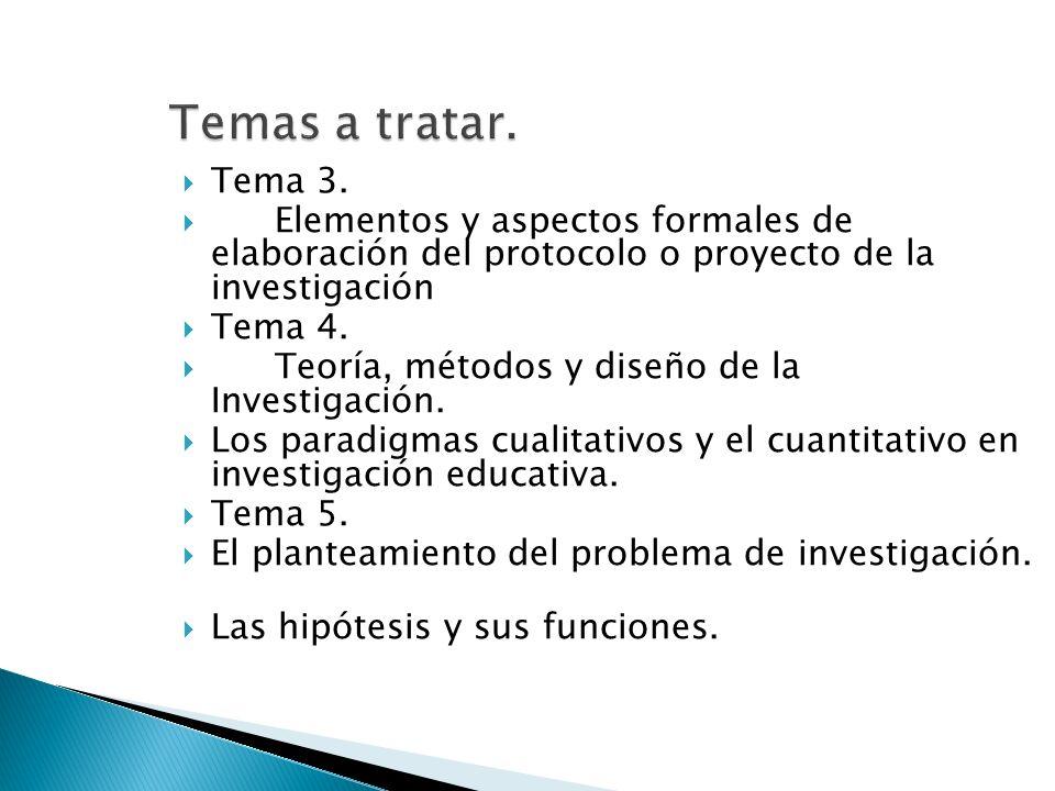 Temas a tratar.Tema 3. Elementos y aspectos formales de elaboración del protocolo o proyecto de la investigación.