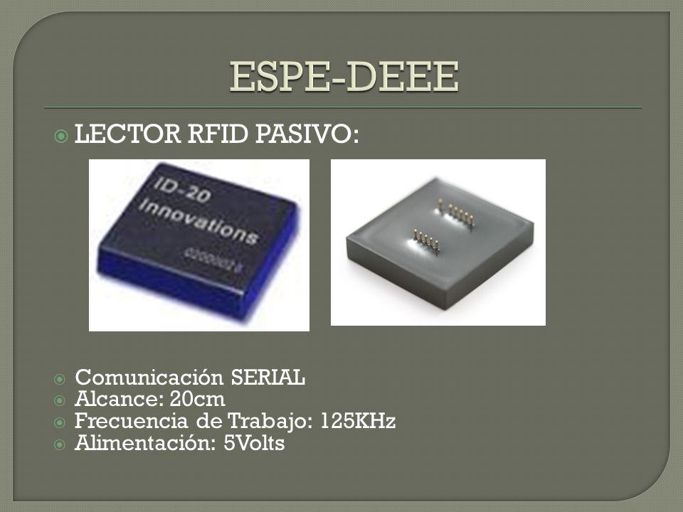 ESPE-DEEE LECTOR RFID PASIVO: Comunicación SERIAL Alcance: 20cm